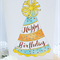 Happy Birthday Card Party Hat Hand Painted Watercolours