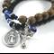 Saint Dymphna Cross and Evil eye protection bracelet set wood + onyx bracelets