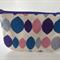 lined zipper pouch / purse (small) {pink, purple, blue diamond dots}