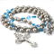 Platinum pearl & Turquoise blues Rosary, Silver + Blue Catholic Rosary Beads