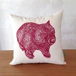 Organic wombat cushion // Wombat front + back cushion cover // Australian animal