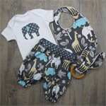 Jungle baby gift set. Outfit, bib & teether. Made to order in sizes 0000 - 1.