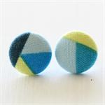 Buy 3 Get 1 Free! Blue & Yellow Geometric Fabric Button Earrings