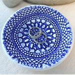 Blue porcelain lace bowl. Jewellery dish. Ring holder. Ceramic bowl.