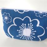 lined zipper pouch / purse (small) {blue modern flower}