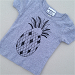 Hand Screen printed Pineapple Tee on grey Size 6-12Months