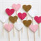 12 Love Heart Cupcake Toppers - Gold Glitter, Hot Pink, Baby Pink and White
