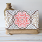 Large fold-over clutch purse - leather and cotton in coffee and coral colours