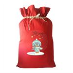 Girls Green Owl Personalised Christmas Santa Sack