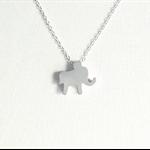 Tiny elephant charm necklace, silver necklace