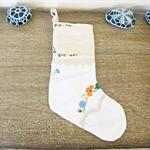 Doily Christmas Stocking. Vintage Embroidered Doilies Flowers Linen Cotton White
