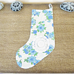 Blue Christmas Stocking Vintage Fabric Floral Flowers Doily Blue Green White