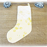 Yellow Christmas Stocking. Vintage Fabric Floral Flowers Lace Yellow Green