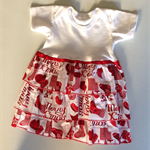 Baby red christmas dress, baby t-shirt dress, red XMAS baby dress, size 1
