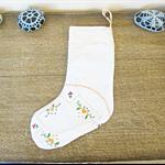 Doily Christmas Stocking. Vintage Embroidered Doily Flowers Cotton White Orange