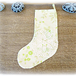 Green Christmas Stocking. Vintage Fabric Floral Flowers Doily Green Lime White