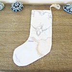Doily Christmas Stocking. Vintage Embroidered Doilies Flowers Linen Cotton Cream