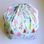 CHRISTMAS SANTA SACK ~ BLUE CHRISTMAS ~ with a re-usable matching gift tag