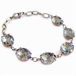 Nastassia Bracelet Vintage Glass Jewel Black Diamond Smoky Grey Bridal Glam