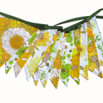 Vintage Bunting - Retro Yellow & Eco Green Floral Flag . Australia Day
