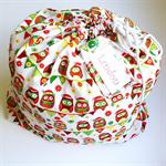 CHRISTMAS SANTA SACK ~ CHRISTMAS OWLS ~ with a re-usable matching gift tag