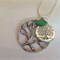 Antique Silver Tree with bird Necklace