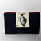 Fabric Wallet Purse summer 2015, Dark Navy with fish, phone sleeve