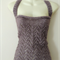 Mini Cowl Neck Tank Top - Hand knitted chevron pattern T-Strap back - Large Size