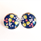 Floral Yellow Flowers Resin Silver Post Earrings