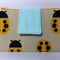 Fabric Wallet Purse, summer 2015, Linen, yellow ladybugs, pale ice blue.