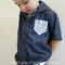 Size 6 Blue Dot Collared Dress Shirt Short Sleeves