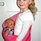 HOT PINK STARS Baby Doll Carrier Carry Sling + Free mini Doll's Taggie