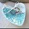 Mint lace porcelain heart, wedding ring dish. Engraved We Do. Ceramic.