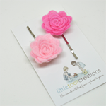 Wool felt rosette hair slides