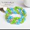 Apple Green Pink Turquoise Handmade Memory Wire OOAK Bracelet by Top Shelf