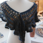 Crocheted mohair and acrylic scarf with vintage button, teal and gold