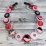 Kissing Dolls - black pink red white - Button Necklace - Earrings - Jewellery