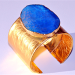 Gold Leather Cuff with Gold Edged Blue Agate Stone. For the Modern Gatsby