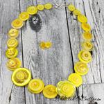 Zesty Lemon Yellow - Button Necklace - Earrings - Jewellery