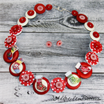 CHRISTMAS - Present Stockings - Red White Green - Button Necklace and Earrings
