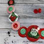 CHRISTMAS - Crazy  Santa Frog - Red White Green - Button Necklace and Earrings