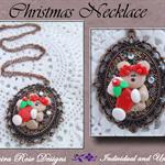 Bear Polymer Cameo Christmas Necklace