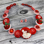 CHRISTMAS - Santa Claus is watching - Red White - Button Necklace and Earrings