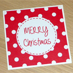 6 Christmas cards - red and green with spots!