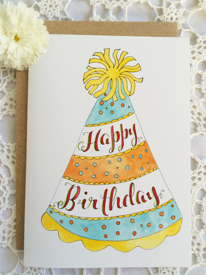Happy Birthday Card Party Hat Hand Painted Watercolour Whimsical