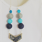 {Necklace} Double sided chevron wood adjustable length blues beaded necklace.