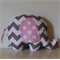 Large Elephant Softie - Grey & White Chevron & Pink Spot