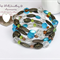 Blue Tan Green Brown Clear Handmade Memory Wire OOAK Bracelet by Top Shelf