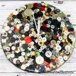 REDUCED - Grandma's Button Tin - Old Buttons Resin clock - silent motion