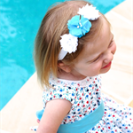 Aqua and White Chiffon Flower Stretch Headband.